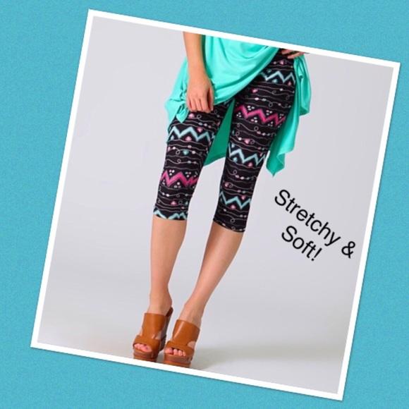9d9e32a78 Lydiane Pants | Pink Mint Chevron Capri Leggings | Poshmark